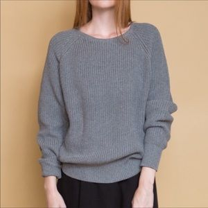 Callahan Grey Boyfriend Knit Pullover Sweater Top